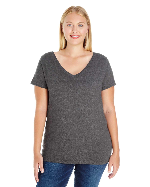 Lat 3807 Ladies Curvy V Neck Premium Jersey T Shirt