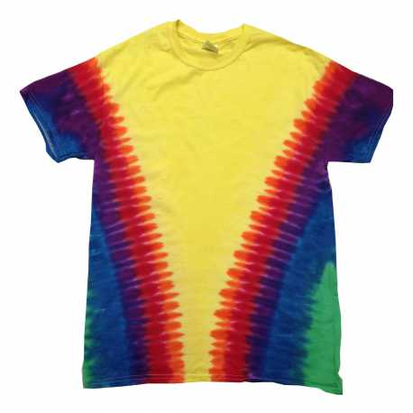 Tie-Dye CD1140 Adult Rainbow Pattern Tie-Dyed Tee