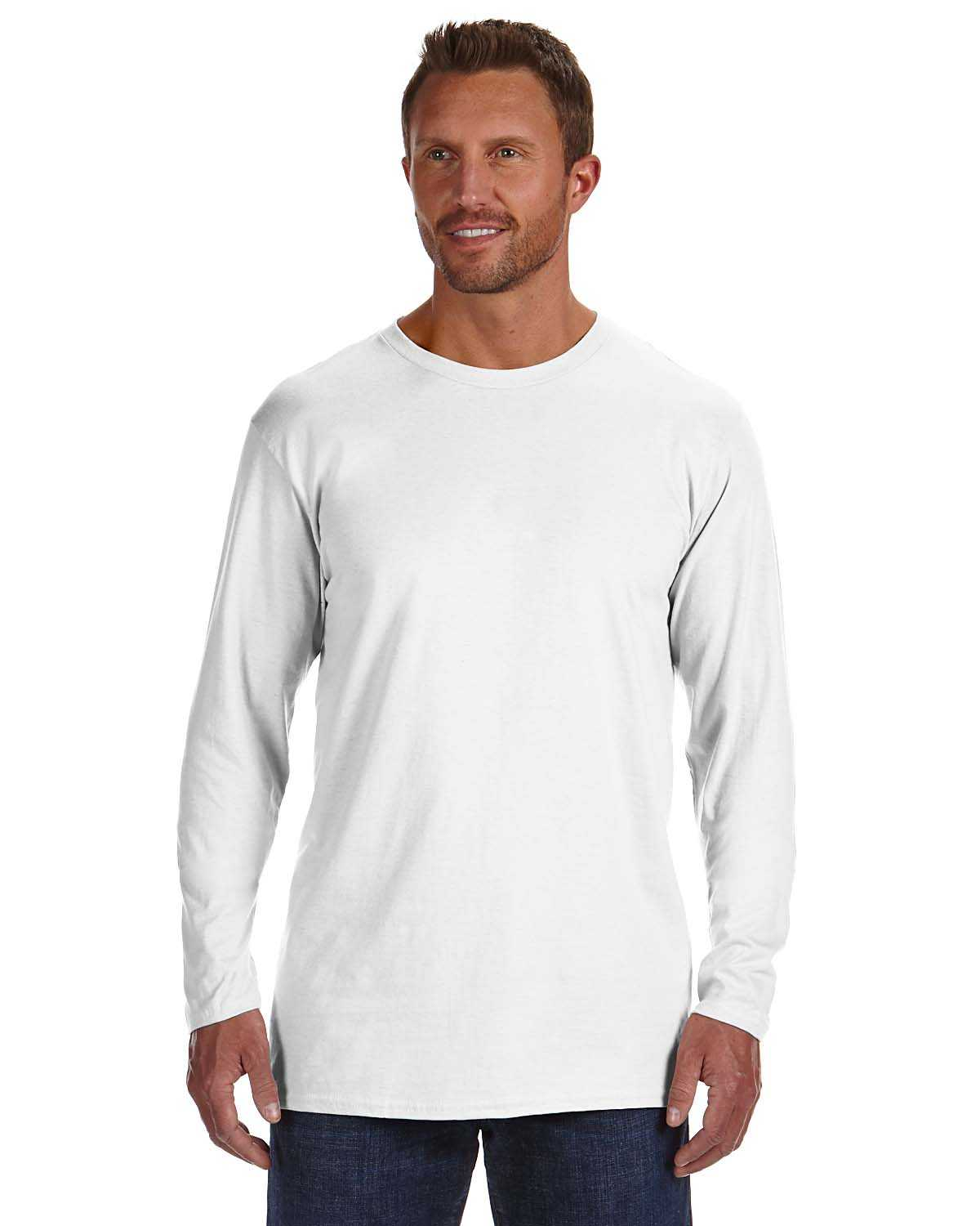 Hanes 498l men 39 s 4 5 oz 100 ringspun cotton nano t long for Mens 100 cotton long sleeve t shirts
