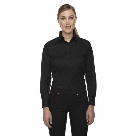 North End Sport Red 78646 Ladies' Wrinkle-Free Two-Ply 80's Cotton Taped Stripe Jacquard Shirt