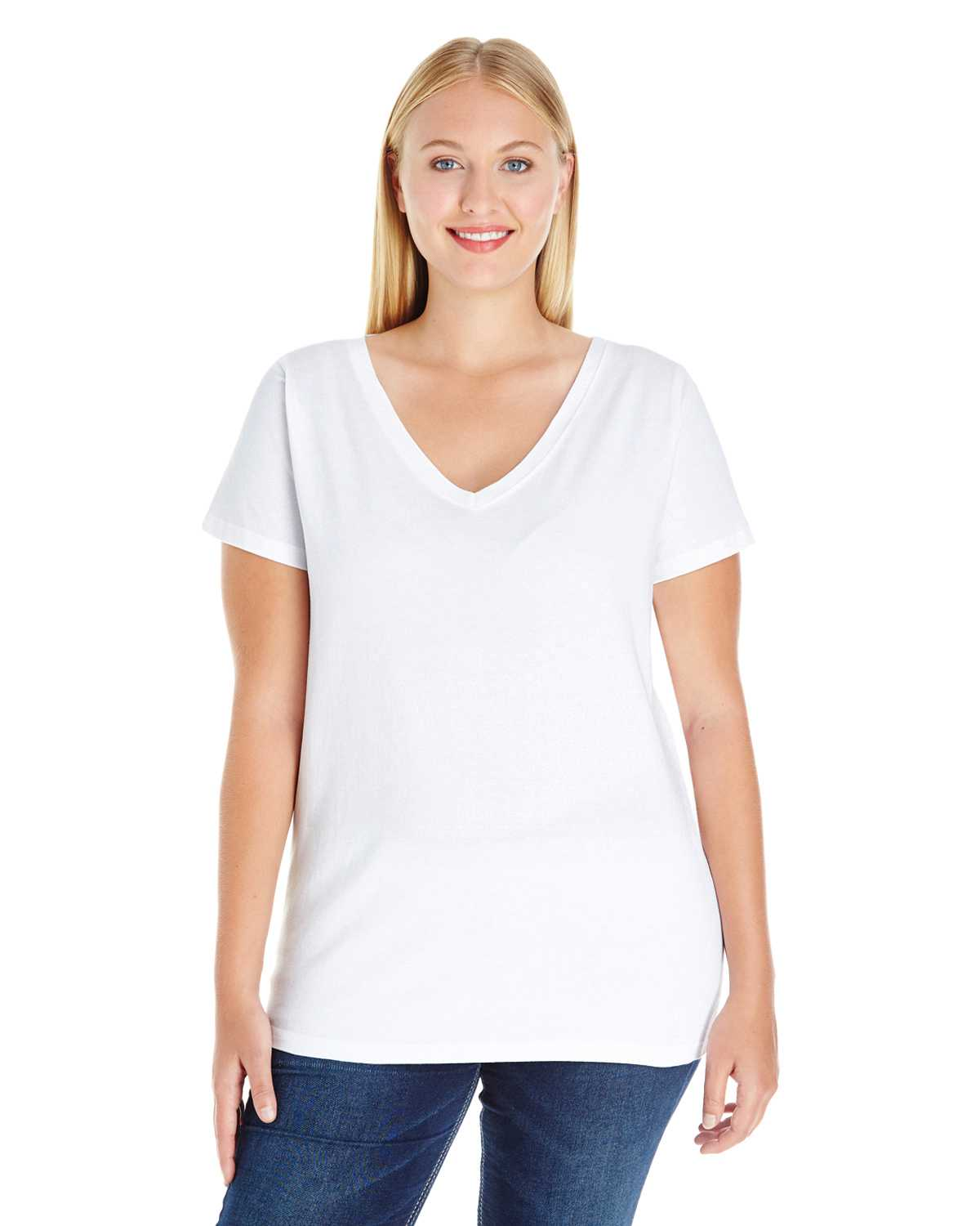 Lat 3807 ladies 39 curvy v neck premium jersey t shirt for Thick v neck t shirts