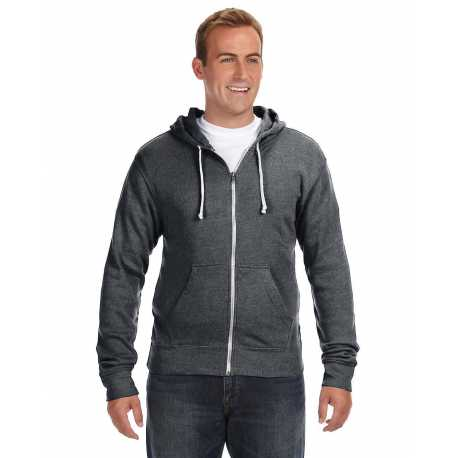J America JA8872 Adult Triblend Full-Zip Fleece Hood