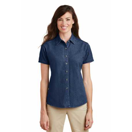 Port & Company LSP11 Ladies Short Sleeve Value Denim Shirt