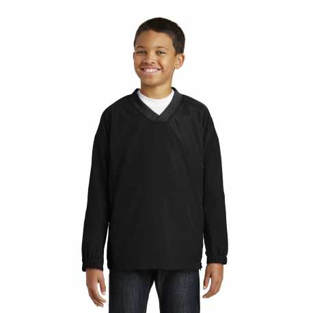 Sport-Tek YST72 Youth V-Neck Raglan Wind Shirt