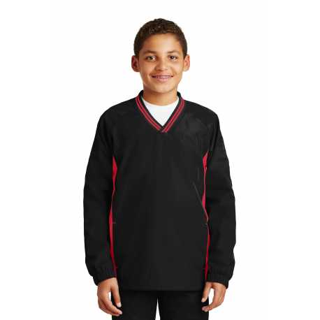 Sport-Tek YST62 Youth Tipped V-Neck Raglan Wind Shirt