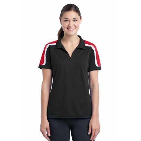 Sport-Tek LST658 Ladies Tricolor Shoulder Micropique Sport-Wick Polo