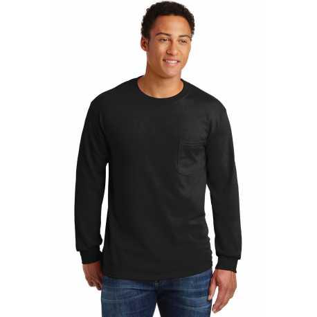 Gildan 2410 Ultra Cotton 100% Cotton Long Sleeve T-Shirt with Pocket