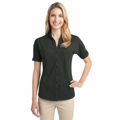Port Authority L556 Ladies Stretch Pique Button-Front Shirt