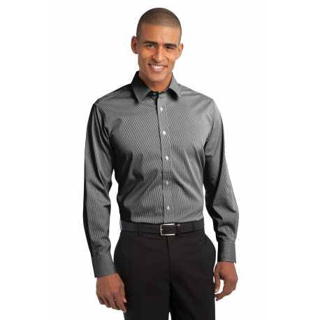 Port Authority S647 Fine Stripe Stretch Poplin Shirt