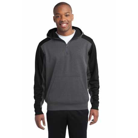 Sport-Tek ST249 Tech Fleece Colorblock 1/4-Zip Hooded Sweatshirt