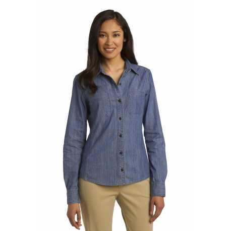 Port Authority L652 Ladies Patch Pockets Denim Shirt
