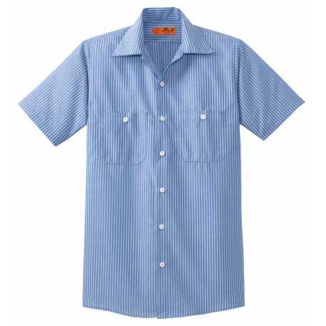 Red Kap CS20LONG Long Size Short Sleeve Striped Industrial Work Shirt