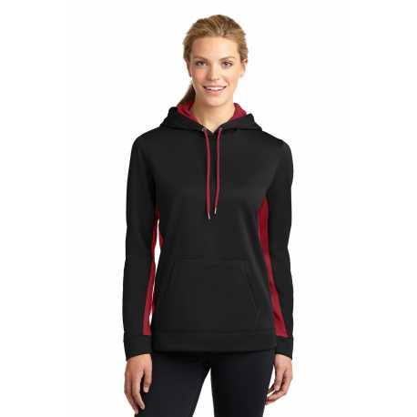 Sport-Tek LST235 Ladies Sport-Wick Fleece Colorblock Hooded Pullover