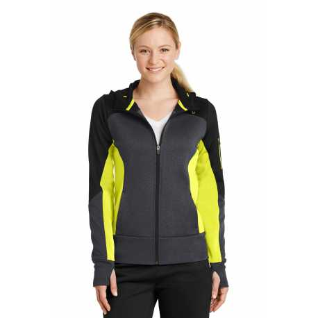Sport-Tek LST245 Ladies Tech Fleece Colorblock Full-Zip Hooded Jacket
