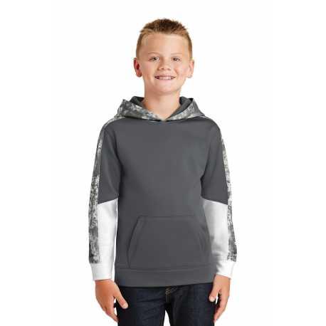 Sport-Tek YST231 Youth Sport-Wick Mineral Freeze Fleece Colorblock Hooded Pullover