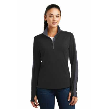 Sport-Tek LST861 Ladies Sport-Wick Textured Colorblock 1/4-Zip Pullover
