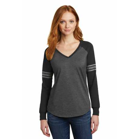 District Made Made DM477 Made Ladies Game Long Sleeve V-Neck Tee