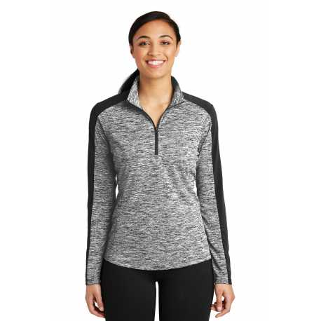 Sport-Tek LST397 Ladies PosiCharge Electric Heather Colorblock 1/4-Zip Pullover