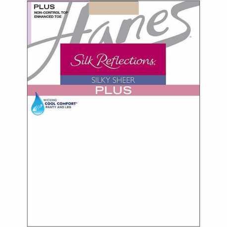 Hanes 00P15 Silk Reflections Plus Enhanced Toe Sheer Pantyhose