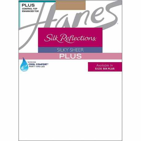 Hanes 00P16 Silk Reflections Plus Sheer Control Top Enhanced Toe Pantyhose