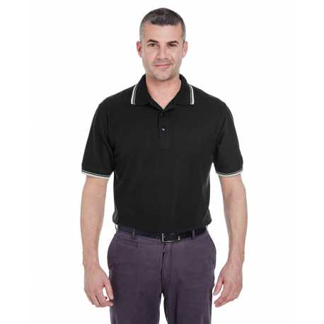 UltraClub 8545 Men's Short-Sleeve Whisper Pique Polo with Tipped Collar and Cuffs