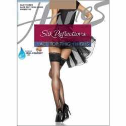 Hanes 0A444 Silk Reflections Lace Top Thigh Highs