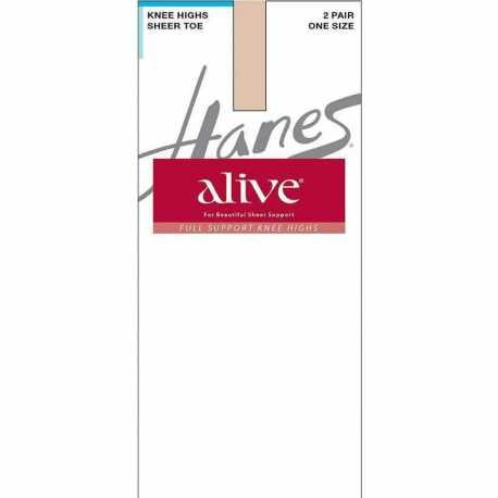 Hanes 0A446 Alive Full Support Sheer Knee Highs 2-Pack