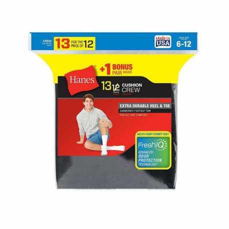 Hanes 184V13 Men's Cushion Crew Socks 13-Pack (Includes 1 Free Bonus Pair)