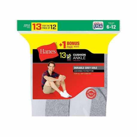 Hanes 186V13 Men's Cushion Ankle Socks 13-Pack (Includes 1 Free Bonus Pair)