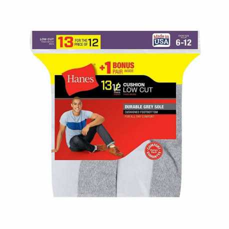 Hanes 188V13 Men's Cushion Low Cut Socks 13-Pack (Includes 1 Free Bonus Pair)