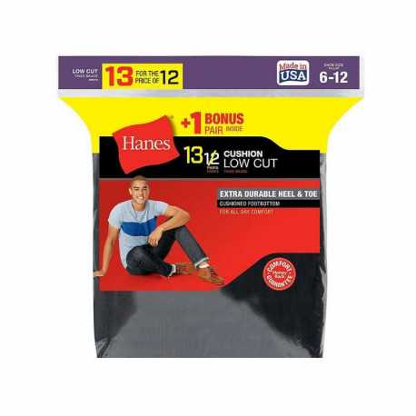 Hanes 188V13 Men's Cushion Low Cut Socks 13-Pack (Includes 1 Free Bonus Pair)