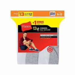 Hanes 190V13 Men's Cushion No-Show Socks 13-Pack (Includes 1 Free Bonus Pair)