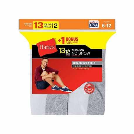 Hanes 190V13 Men's Cushion No-Show Socks 13-Pack (Includes 1 Free Bonus Pair)