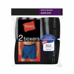 Hanes 548KP2 Men's Exposed Waistband Knit Boxer 2 Pack