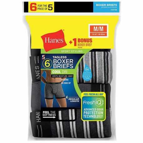 Hanes 7347Z6 Men's FreshIQ ComfortSoft Boxer Briefs 6-Pack (5 + 1 Free Bonus Pack)