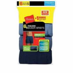 Hanes 7460Z6 Men's TAGLESS Boxer Brief with ComfortSoft Waistband 6-Pack (Includes 1 Free Bonus Boxer Brief)