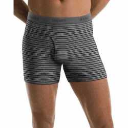Hanes 76925S Men's TAGLESS Ultimate Fashion Stripe Boxer Briefs with Comfort Flex Waistband 5-Pack