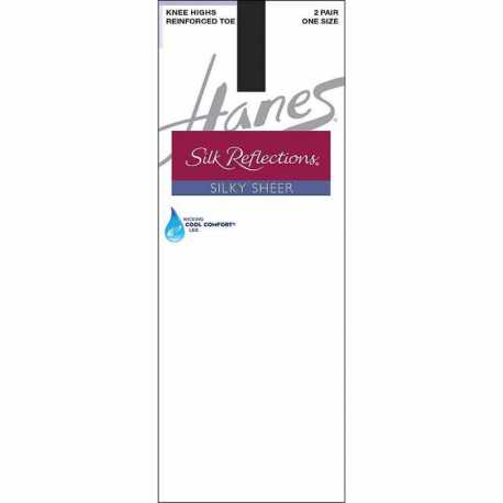 Hanes 775 Silk Reflections Silky Sheer Knee Highs with Reinforced Toe 2-Pack