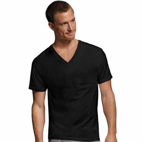 Hanes 7765AS Men's Dyed ComfortSoft TAGLESS V-Neck Undershirt 4-Pack