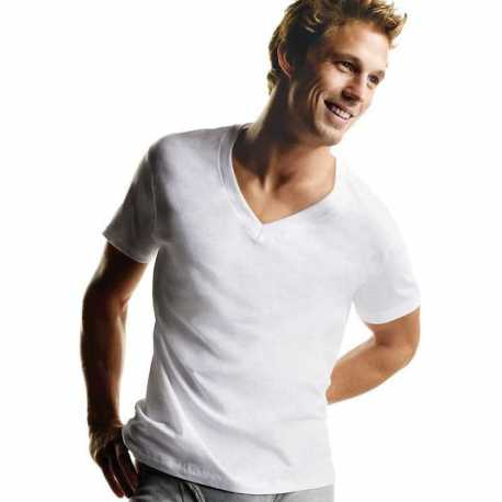 Hanes 777P5 Men's TAGLESS V-Neck Undershirt 5-Pack (2X-3X)