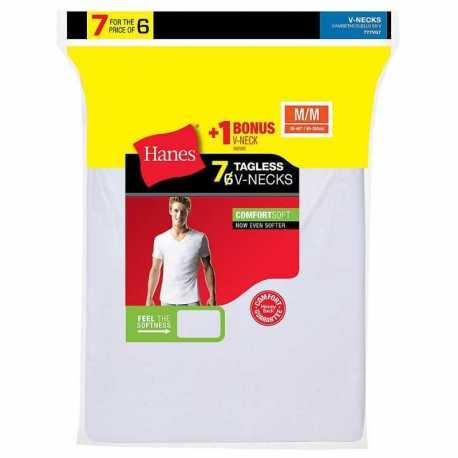 Hanes 777VG7 Men's TAGLESS V-Neck Undershirt 7-Pack (Includes 1 Free Bonus V-Neck)