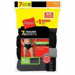 Hanes 7800Z7 Men's Mid Rise Brief with Comfort Flex Waistband 7-Pack (Includes 1 Free Bonus Brief)