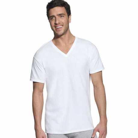 Hanes 7880W6 Classic Mens White V-Neck T-Shirt P6