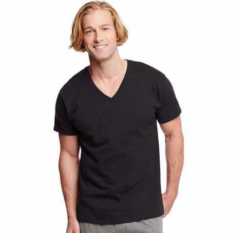 Hanes 7883B3 Classics Men's Traditional Fit ComfortSoft TAGLESS Dyed Black V-Neck Undershirt 3-Pack
