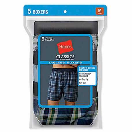 Hanes 798BP5 Classic Mens Yarn Dyed Exposed Waistband Boxer P5
