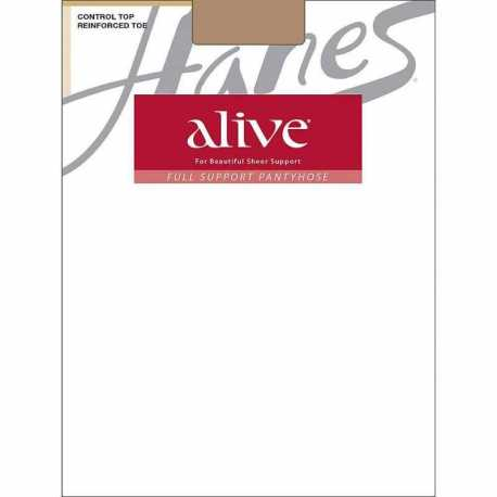 Hanes 810 Alive Full Support Control Top Reinforced Toe Pantyhose