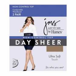 Just My Size 888R Smooth Finish Regular Reinforced Toe Panty Hose 2 Pair Pack