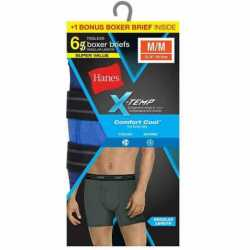 Hanes 973XT6 Men's Red Label X-Temp Boxer Brief Bonus Pk 5 + 1 Free