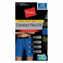 Hanes CFFLP4 Men's Comfort Flex Fit Breathable Mesh Long Leg Boxer Briefs 4-Pack (includes 1 Free Bonus Boxer Brief)