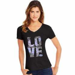 Hanes GT9337 Y06917 Women's Big Love Short Sleeve V-Neck Tee
